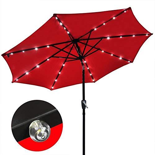 GBTB Sombrillas Luz Solar Sombrilla Market Patio Sombrillas LED para Exteriores Paraguas de jardín LED de Carga automática 3 M (Color: Rojo)