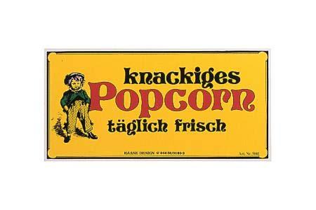 Nostalgieschild Kunstoff Popcorn 40 x 20 cm Lausbub