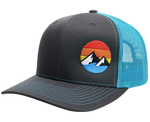 WUE Explore The Outdoors Trucker Hat - Charcoal/Cyan Blue