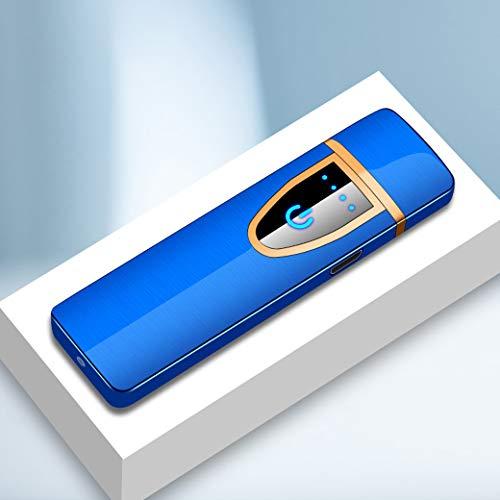 Mechero de metal con sensor táctil para mechero de coche compacto USB recargable, caja de regalo de alta gama (azul)