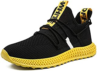 FYXKGLa Men's Sports Shoes Fashion Youth Mesh Breathable Casual Men's Shoes Spring and Summer Outdoor Running Shoes (Color : Yellow, Size : 43EU)