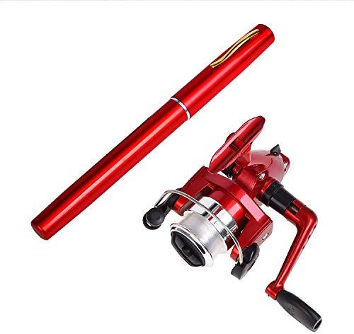 Fullgaden Portable Pen Reel Combo for Kids,39 Inch Mini Travel Pocket Rod Set,Telescopic Aluminum Alloy Fishing Pole, Red