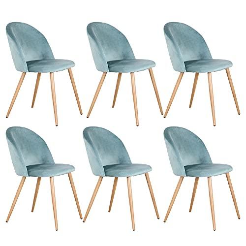 EGOONM Sedie da Pranzo Sedie Set di 6,Sedia in Stile Nordico in Velluto con Gambe in Metallo Sedie da Cucina (Verde-6)