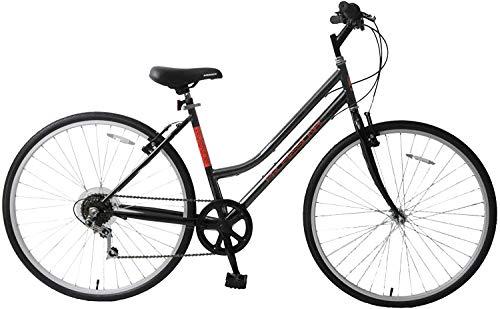 Ammaco. Professional Avenue 700c Womens Ladies Hybrid City Trekking Tourist Commuter Bike Step Through 18' Frame 6 Speed Black/Red
