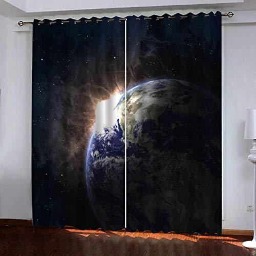 Hailongdia Vorhänge Super Soft Blackout Blick Auf Die Erde Aus Der Perspektive des Weltraums. 3D Schwarzer...