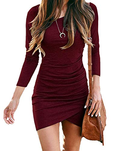 BTFBM Women Fashion Ruched Elegant Bodycon Long Sleeve Wrap Front Solid Color Casual Basic Fitted Short Dress (Wine Red, Medium)