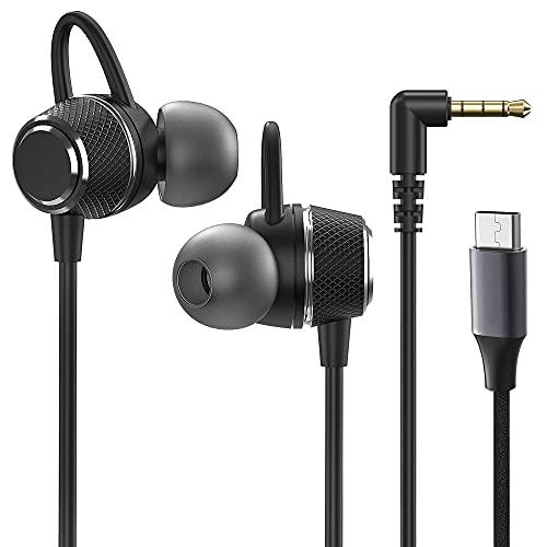 Auriculares con cable en la oreja con micrófono