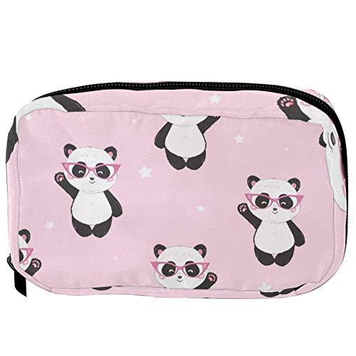 TIZORAX Cosmetic Bags Red Glasses Panda Handy Toiletry Travel Bag Organizer Makeup Pouch for Women Girls