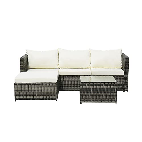 Bonnlo 3 Pieces Outdoor Garden Rattan Furniture Set Garden Sectional Sofa, Patio Conversation Set with Coffee Table, All-Weather Rattan Chair for Yard,Pool or Backyard (Grey)