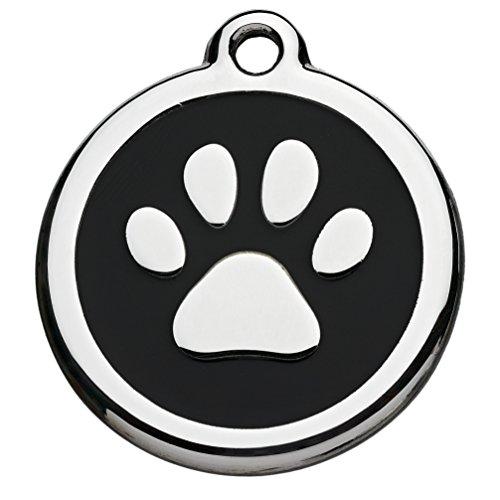 Tiermarke mit Gravur mit Pfoten-Motiv schwarz | Hundemarke mit Name, inkl. Schlüsselring, aus Aluminium | Adressanhänger für Hund und Katze