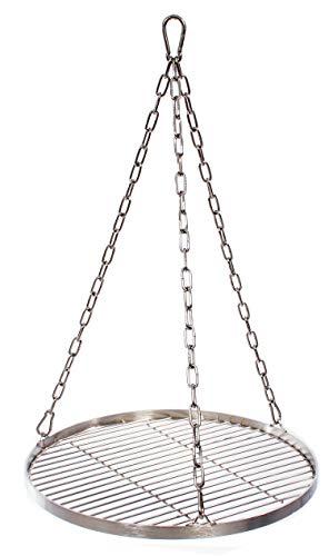 Grillrost 45 cm mit Kette Edelstahl für Schwenkgrill 3 Bein Grill Rost 10 mm Stababstand BBQ