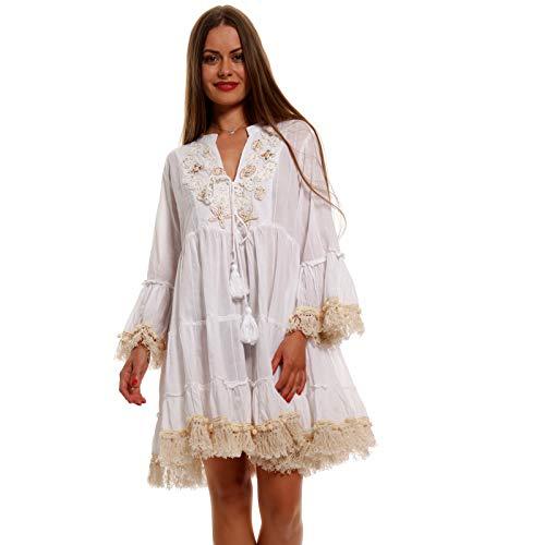 YC Fashion & Style Damen Boho Minikleid Tunika Kleid mit Spitze und Pompons Made in India stylisches Strand-Kleid oder Party-Kleid Jumper aus 100% Baumwolle - Freizeit-Kleid (M/L = 34/36, Weiß/Beige)
