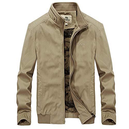 Mens Padded Hood Jacket Fleece Lined Winter Coat Casual Jacket Large Size Jacket-Khaki_3XL