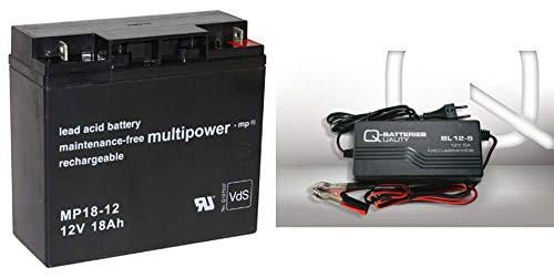 Set Qbatteries BL 12-3 Chargeur 3A + Multipower MP18-12 Batterie au Plomb 12 V 18 Ah Compatible avec 17 Ah 18 Ah 19 Ah 20 Ah