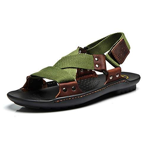 Hombres Sandalias de Cuero Zapatillas Retro no Slip Resistente al Dedo Abierto Zapatos Casuales Planos Casual al Aire Libre Verano Sandalia Calzado con Vendaje de Costura de Mano
