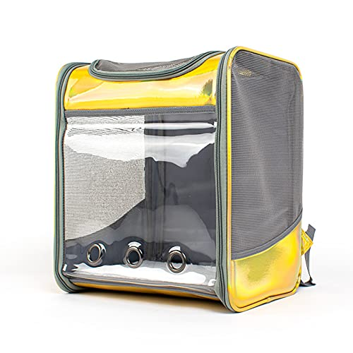 MIAE Collapsible Pet Carrier Backpack, Transparent And Spacious Rucksack Top Opening Design, Dog Crate Large, Transport Bag for Travel Daily Use .Yellownull.Silvernull