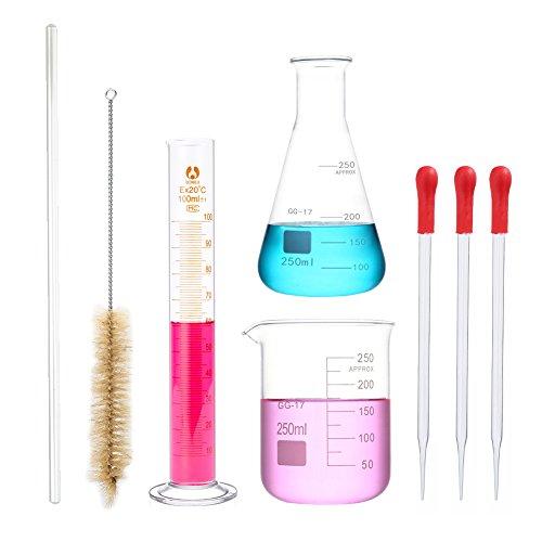 Vaso de vaso de 250 ml, 250 ml y cilindro de 100 ml, juego de mediciones de cristal pequeño con 3 cuentagotas, 1 barra de agitar de 30 cm y 1 cepillo cilíndrico, paquete de 8 con regalos dispo