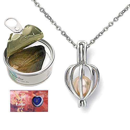 QKFON Wish Pearl Kit Love Pearl Creations Kit with 17.7 inch Pendant Necklace DIY Creative Necklace Jewelry Gift Set with Box Pearl in Oyster Durable for Women Girl
