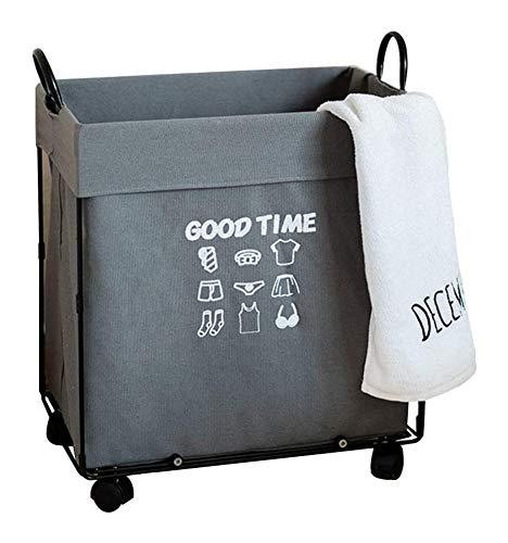 JinSui Cesto Ropa Sucia Cesta de Almacenamiento en Las Ruedas Tela Metal multipropósito de lavandería Cesto de la Ropa del Juguete Lavado Bin Caja con la manija for el Dormitorio Baño Home Box 1222