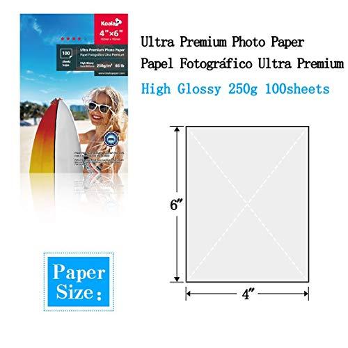 KOALA Papel fotográfico brillante, 10x15 cm 250 g/m² 100 hojas, con revestimiento de resina avanzada de alto brillo premium, para impresora de inyección de tinta Canon Hp Epson