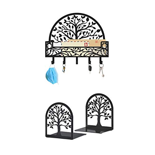 Tree of Life Home Decor: Bookends Decorative, Tree of Life Book Ends, Metal Bookends, Mail and Key Holder for Wall, Key and Mail Organizer with Wall Mount