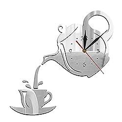 HUIHUI Wall Clock DIY Teapot and Cup Design Acrylic Mirror Modern Wall Clock Tea Kettle Shaped Hanging Clock Watch Kitchen Clock Jug with A Cup