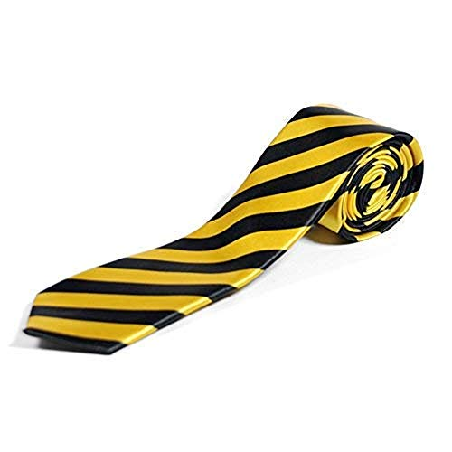 Cravates Minces Rayures Diagonales - Noir & Jaune