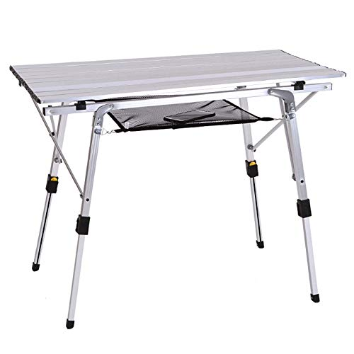 CHUN LING Picnic Camping Table, Outdoor Folding Portable, Aluminum Legs Adjustable Height Roll Up Table Top, For Beach, Bbq, Party