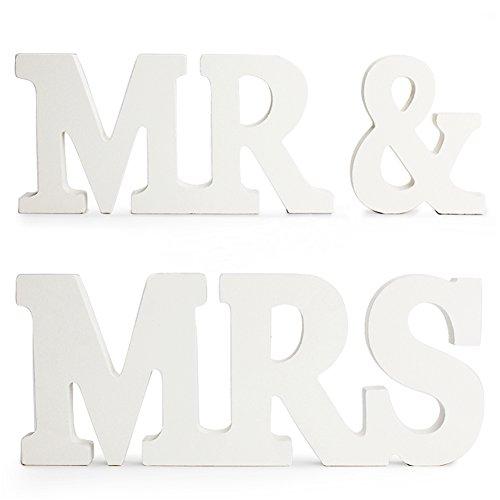 MR & MRS Buchstaben Dekoration Hochzeitsdekoration Weiß, Hochzeitsgeschenk (Typ 2)