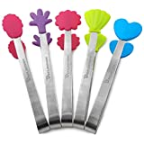 Devilmaycare 5pcs Stainless Steel Sugar Tong 4'' Mini Serving Tongs With Creative Silicone Head, For Tea Coffee Party