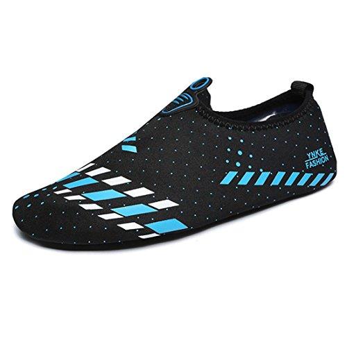 Gaorui Summer Descalço Water Skin Shoes Meias Esportivas Aqua Slip On Piscina Praia Natação Yoga, Black&blue, 6.5 M US Men(Foot Length 24.5CM)