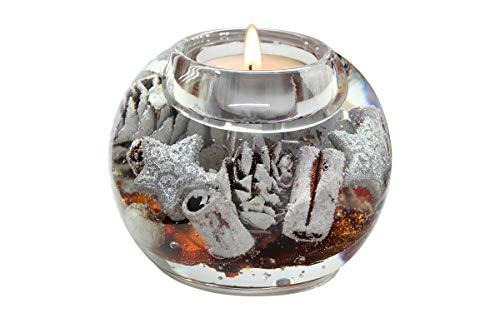 Dreamlight Moderner Teelichthalter Windlichthalter aus Glas braun Herbstlich Weihnachtsdekoration Durchmesser 9 cm *Exklusive Handarbeit aus Deutschland*