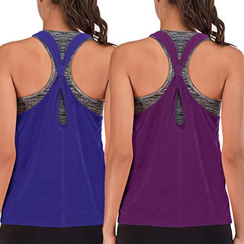 FAFAIR Camiseta de entrenamiento con sujetador y camiseta de tirantes para mujer, holgada con espalda cruzada para yoga, para correr, camisetas atléticas, Morado y azul real., 3XL