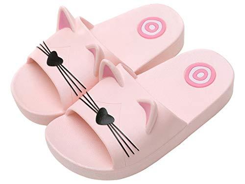Jungen Mädchen Pantoletten Kinder Hausschuhe rutschfeste Sandalen Sommer Flache Leicht Slipper Badelatschen Dusch-& Badeschuhe -Kinder Pink-33/34 EU