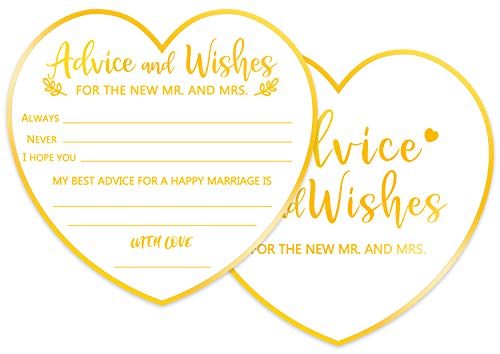 Advice and Wishes Cards for The New Mr and Mrs, Perfect Addition to Your Wedding Reception Decorations or Bridal Shower, Pack of 50