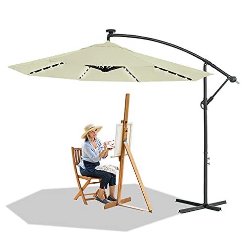 HENGMEI Ø 300cm Sombrilla Parasol Mástil de Aluminio y 100% Poliester Tela protección UV 40 + y Impermeable con Solar LED Sombrilla de Jardin, Terraza, Color Beige