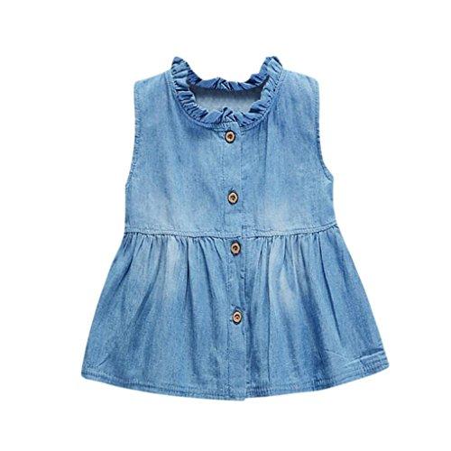 Denim Kleid Mädchen, URSING Kindermädchen Mode A Line Ärmellos Kleid Baby Sommer Ausstattung Sommerkleider Jeanskleider Cowboy Kleidung Kinderbekleidung Freizeitkleider Babymode (L, Blau)