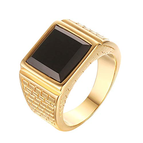 CARTER PAUL Men's Stainless Steel Black Onyx Gold Ring Europe and America Style, Size 10
