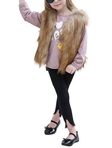 Hirolan Kinder Mädchen Pelzmantel Kunstfell Herbst Kinderkleidung Strampler Winter Babykleidung Mädchen Faux Pelz Weste Dick Mantel Warm Outwear Kleider (100cm, Khaki)
