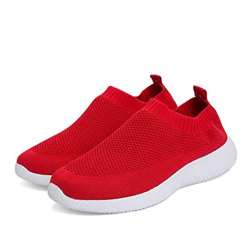 CTYGUO - Zapatillas de deporte para mujer, ligeras, transpirables, malla, cómodas, running, running, fondo suave, hueco, transpirable, malla, Rojo (rojo), 41 EU