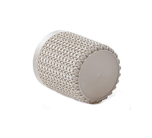 Monbedos - Portapenne rotondo in plastica per cassettiera in finto rattan, colore: grigio