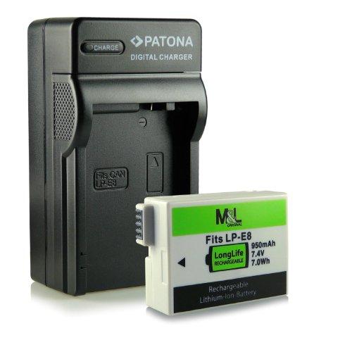 Cargador + Batería LP-E8 compatible con Canon EOS 550D | 600D | 650D | 700D | Rebel T2i | T3i | T4i | T5i