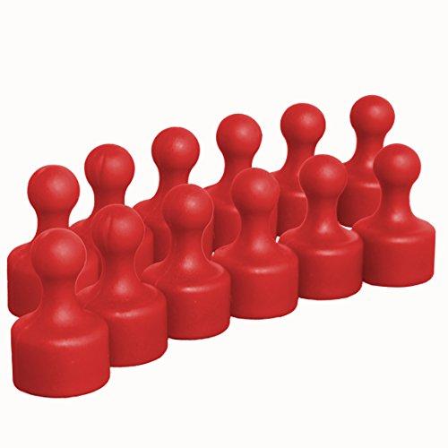 12 rote sehr starke Neodym Kegelmagnete Push Pins | Ø 12 mm | 19,5 mm hoch | Magnete mit superstarkem 9x6 mm N35 Neodymkern für Kühlschrank Pinnwand Magnettafel | geringerer Halt auf Glasmagnettafeln