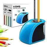Uong Elektrischer Anspitzer, Batterie/Strom betrieben Elektrischer Bleistiftspitzer Automatische Anspitzer mit Ersatzklingen und Schraubendreher für Klassenzimmer Office Sketching (Blau)