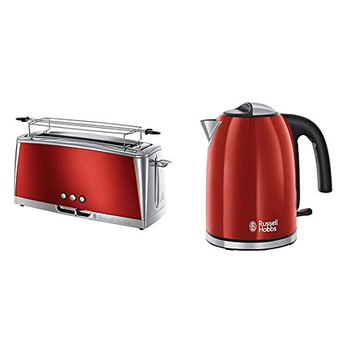 Russell Hobbs Langschlitz Toaster Luna rot, extra breite 1 Langschlitzkammer, 6 einstellbare Bräunungsstufen + Auftau- & Aufwärmfunktion, 1420W, 23250-56 & Wasserkocher Colours+ rot, 1,7l, 2400W