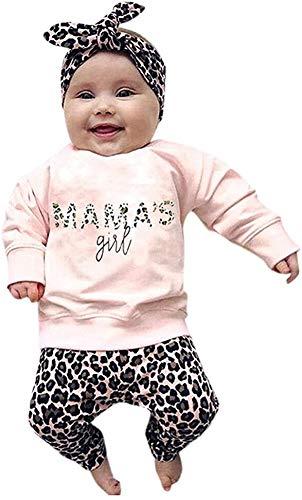 Geagodelia Baby Mädchen Langarmshirts Sweatshirt + Leopardenmuster Lang Legging Hosen Sommer Kleidung Set 0-4 Jahre Neugeborene Festlich Hochzeit Outfit Set (Pink-c, 0-6 Monate)