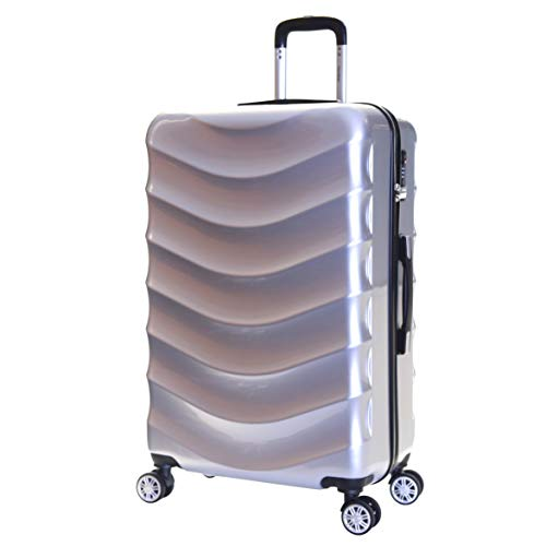 Karabar Hard Shell Extra Large Suitcase Luggage Bag XL 76 cm 4.2 kg 100 litres Polycarbonate PC with 4 Spinner Wheels and Integrated TSA Number Lock, Ripple Silver