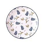 Juego de platos de vajilla de cerámica, platos laterales de cerámica estampados decorados a mano con tapas creativas