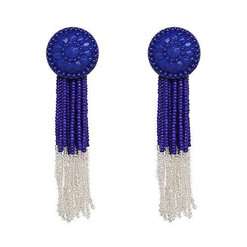 ZHJC Tassels Dangle Drop Earrings Bohemian Beads Long Tassel Dangle Earrings For Women & Girls 6 Colors Wedding, Date (Color : Pink, Size : Free size)
