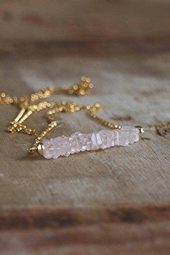 Rose Quartz Bar Necklace in Silver Platedor Gold FilledFilled, Rose Quartz Jewellery, Pink Bar Necklace, Healing Crystal Necklace, Heart Chakra Necklace 4-4.5mm